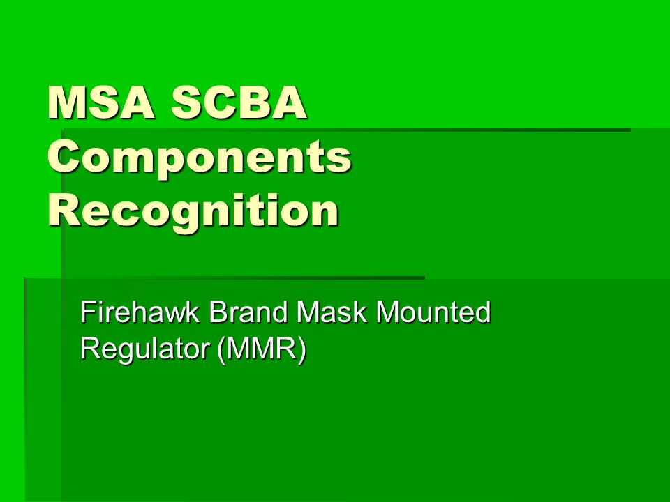 MSA SCBA Components Recognition