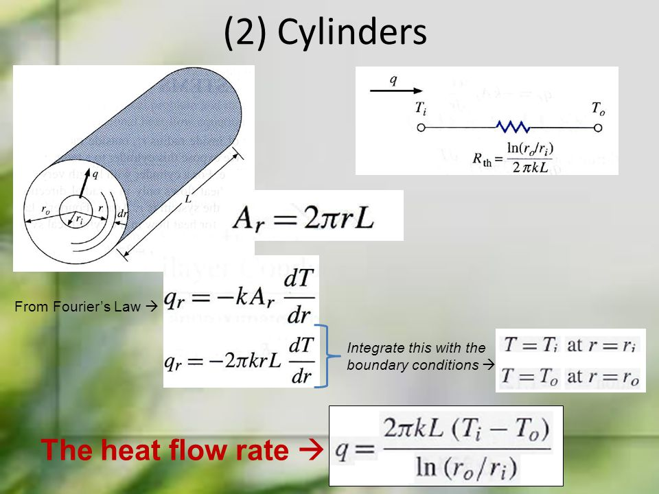 (2) Cylinders The heat flow rate  From Fourier's Law 