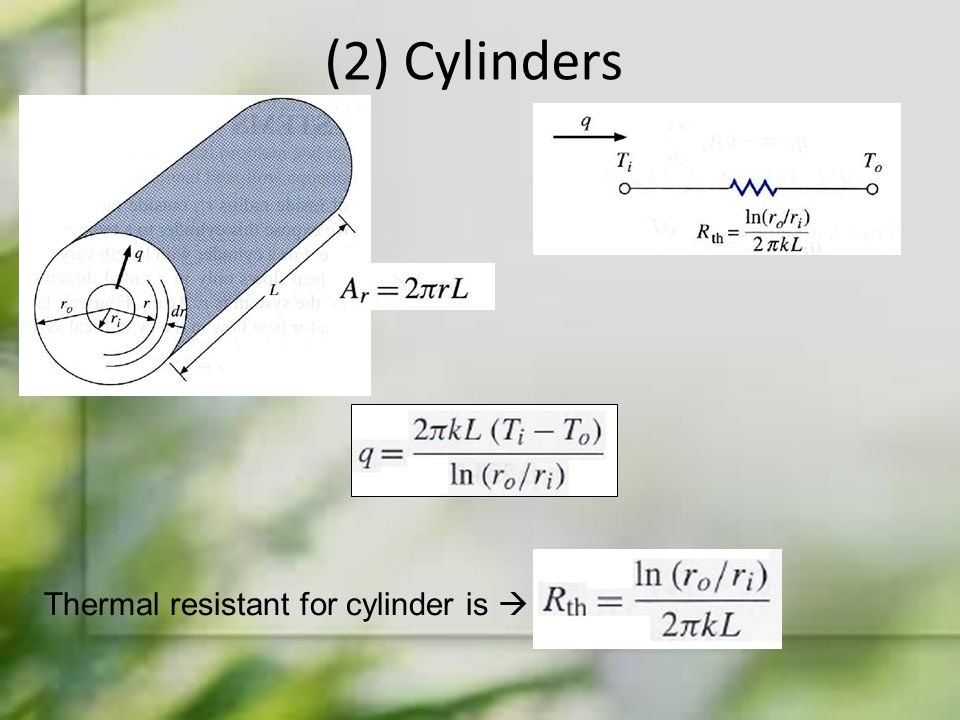 (2) Cylinders Thermal resistant for cylinder is 