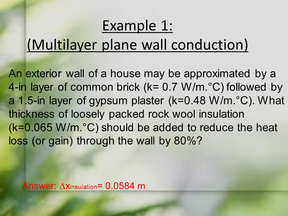 Example 1: (Multilayer plane wall conduction)