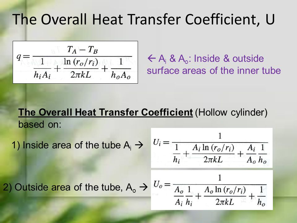 The Overall Heat Transfer Coefficient, U