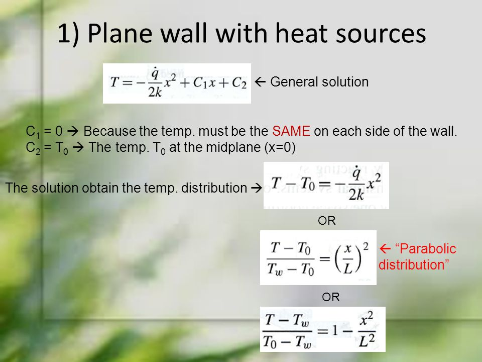 1) Plane wall with heat sources