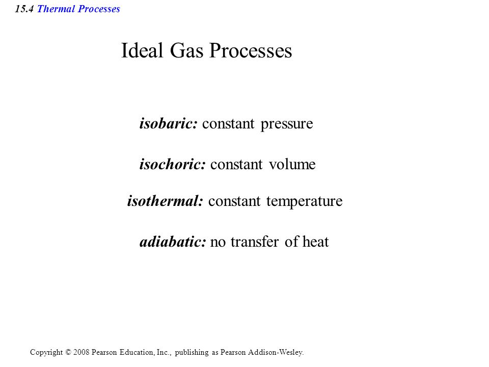 Ideal Gas Processes isobaric: constant pressure