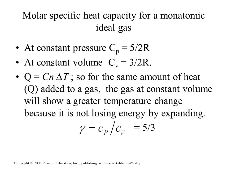 Molar specific heat capacity for a monatomic ideal gas