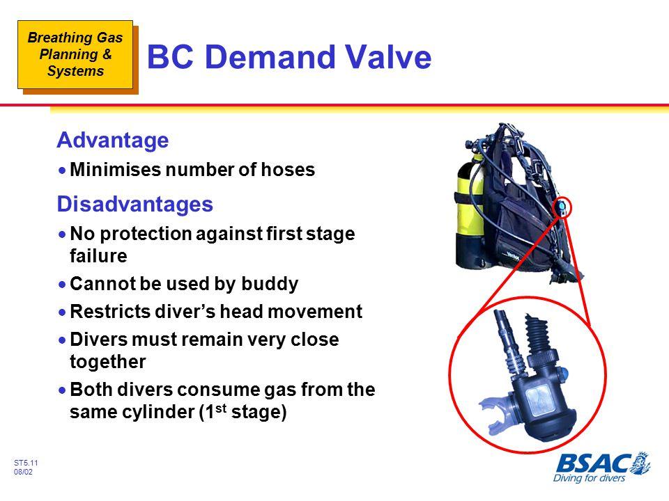 BC Demand Valve Advantage Disadvantages Minimises number of hoses