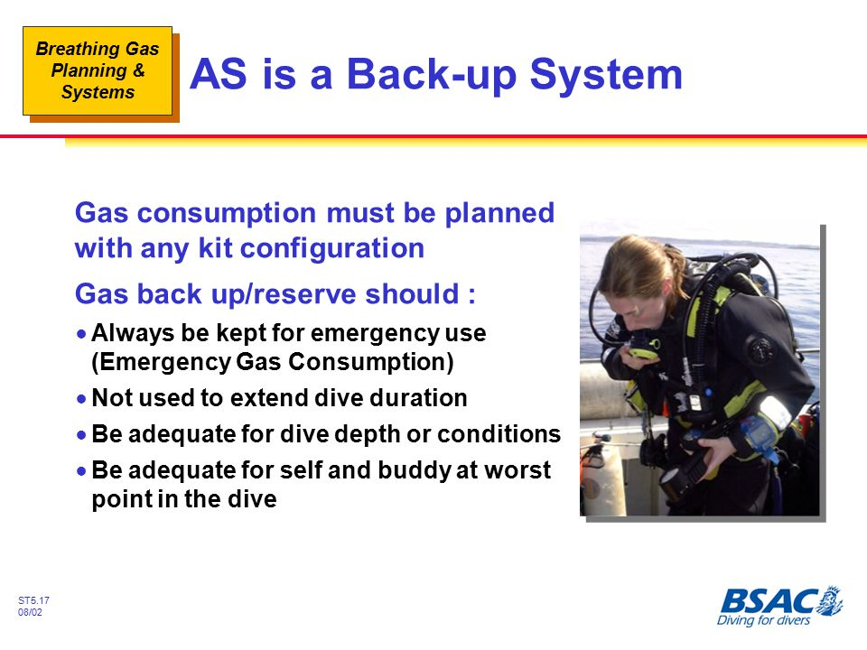 AS is a Back-up System Gas consumption must be planned with any kit configuration. Gas back up/reserve should :
