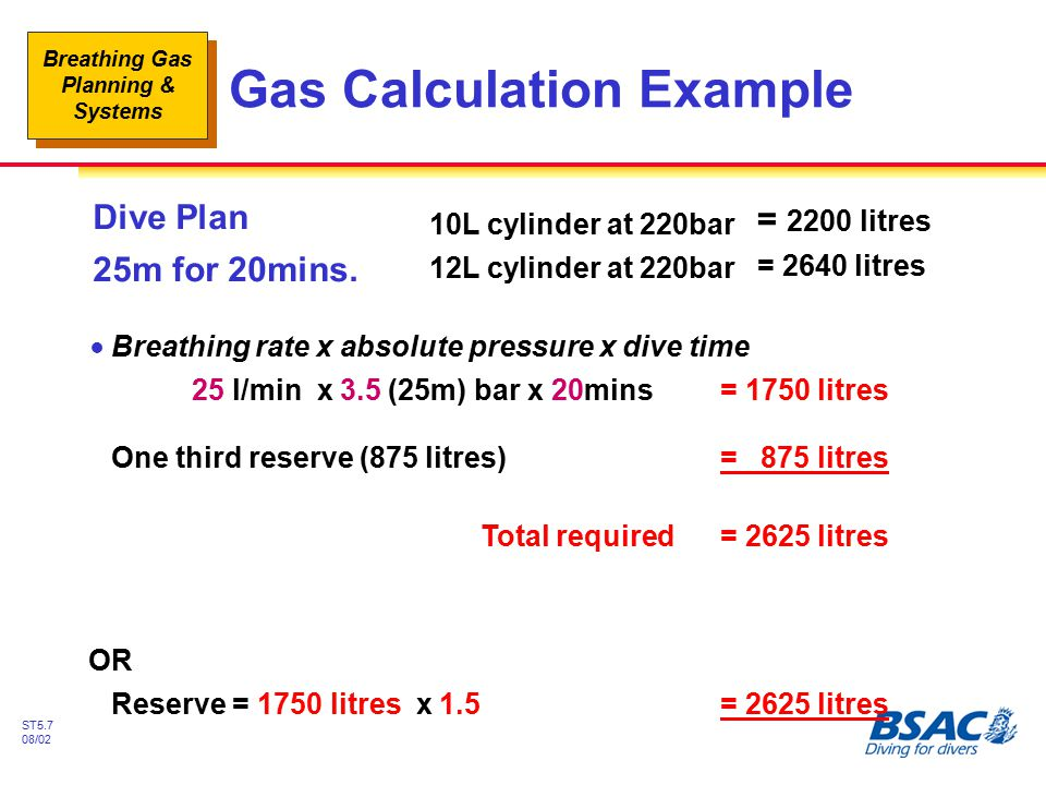 Gas Calculation Example