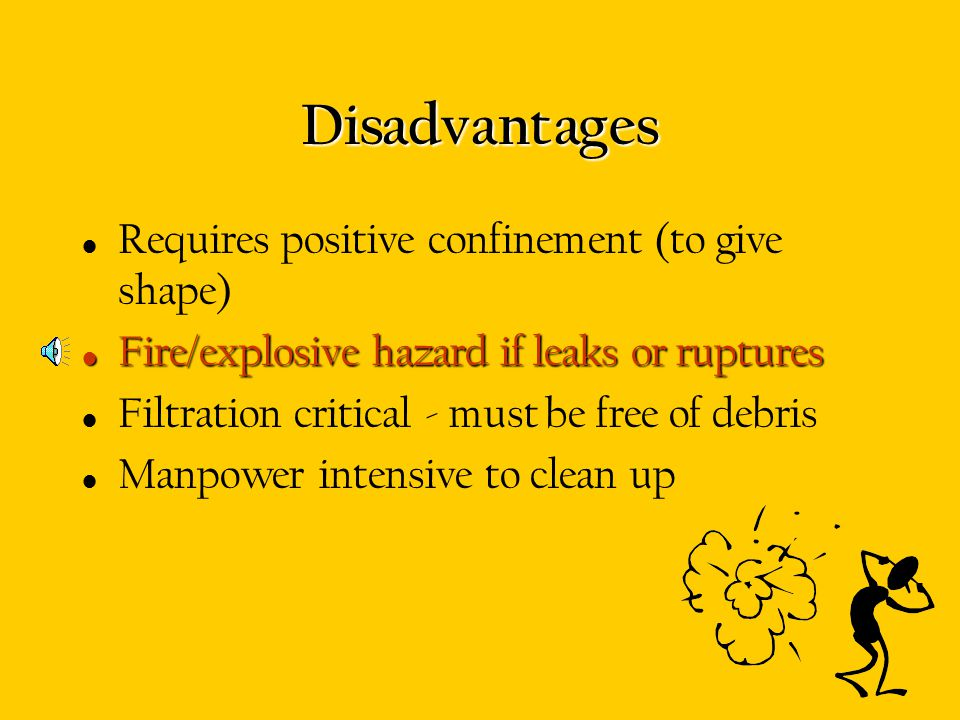 Disadvantages Requires positive confinement (to give shape)