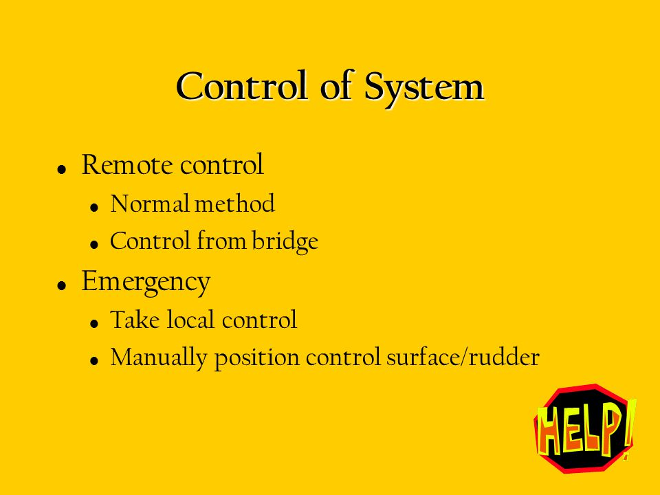 Control of System Remote control Emergency Normal method