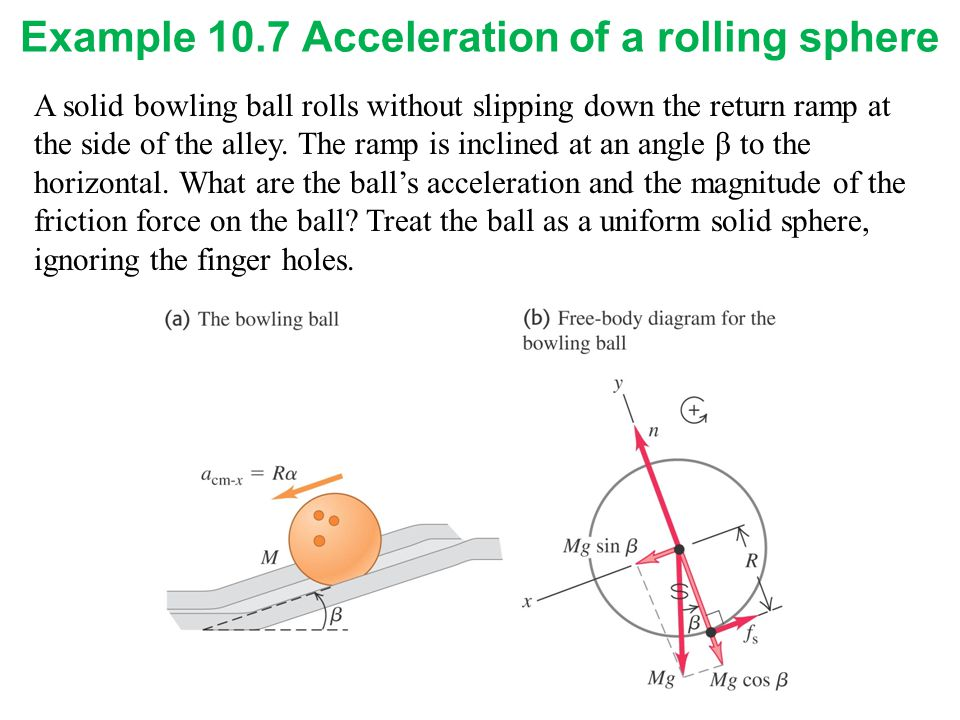 Example 10.7 Acceleration of a rolling sphere
