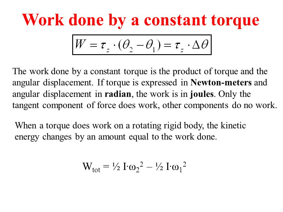Work done by a constant torque