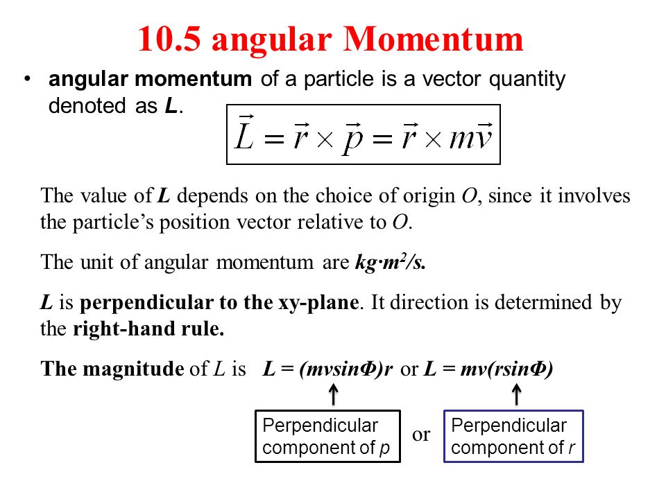 10.5 angular Momentum angular momentum of a particle is a vector quantity denoted as L.