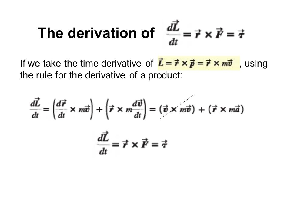 The derivation of If we take the time derivative of , using the rule for the derivative of a product: