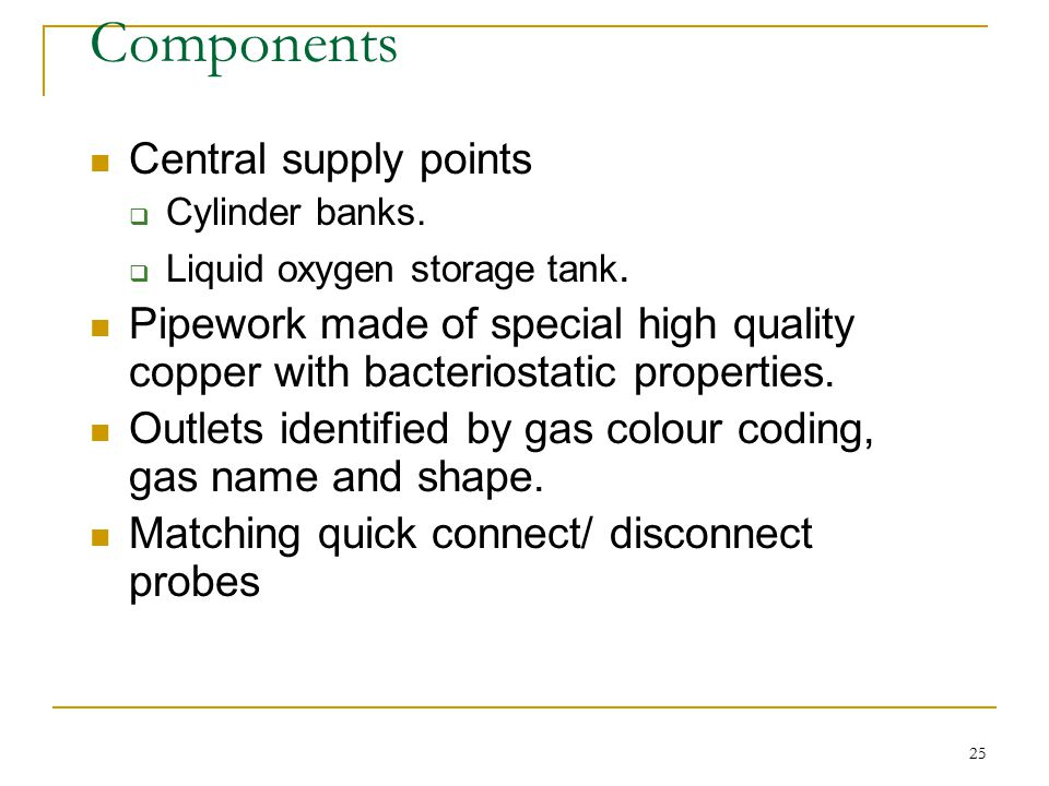 Components Central supply points
