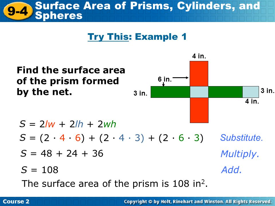 9-4 Surface Area of Prisms, Cylinders, and Spheres Try This: Example 1