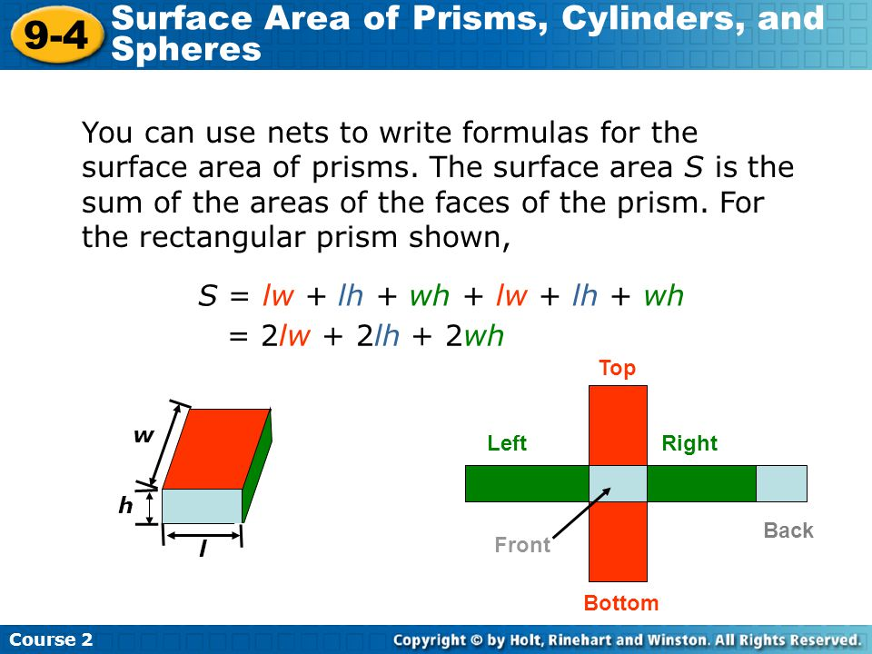 9-4 Surface Area of Prisms, Cylinders, and Spheres