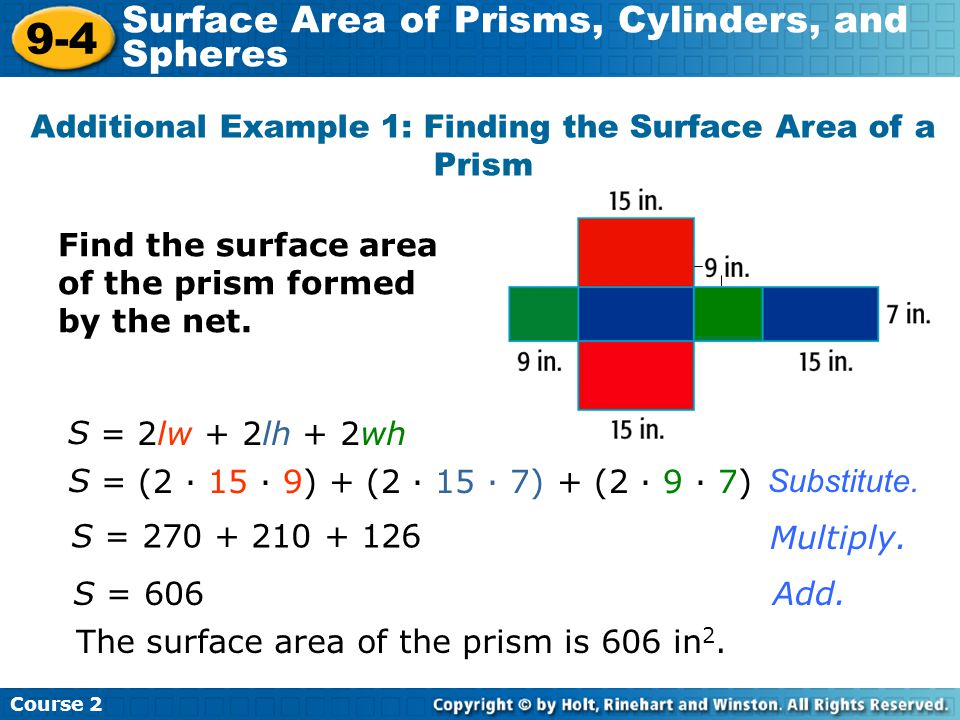Additional Example 1: Finding the Surface Area of a Prism