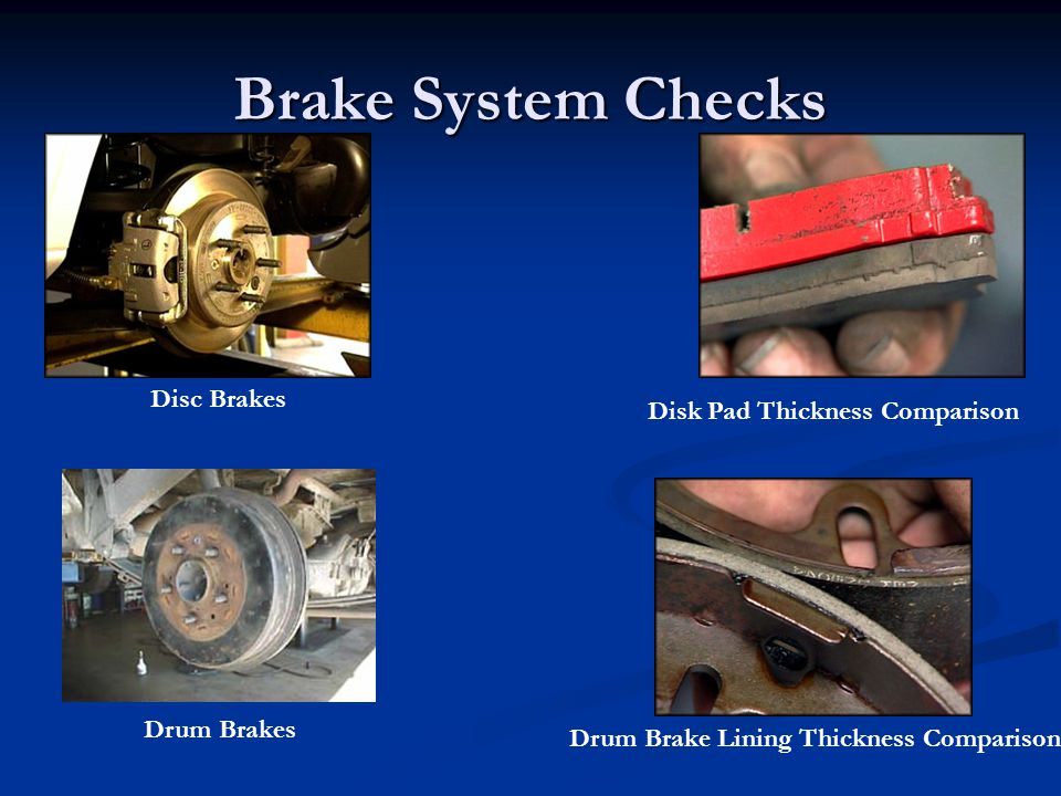 Brake System Checks Disc Brakes Disk Pad Thickness Comparison
