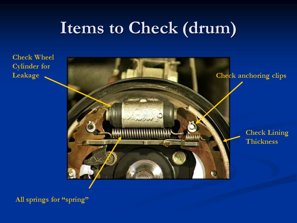 Items to Check (drum) Check Wheel Cylinder for Leakage