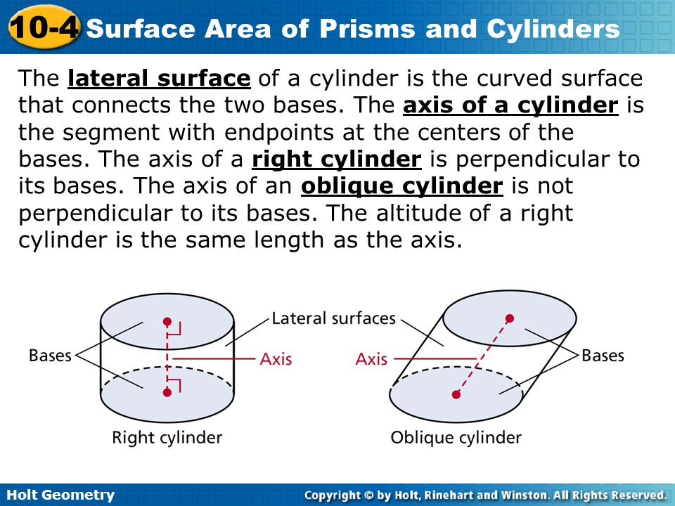 The lateral surface of a cylinder is the curved surface that connects the two bases.