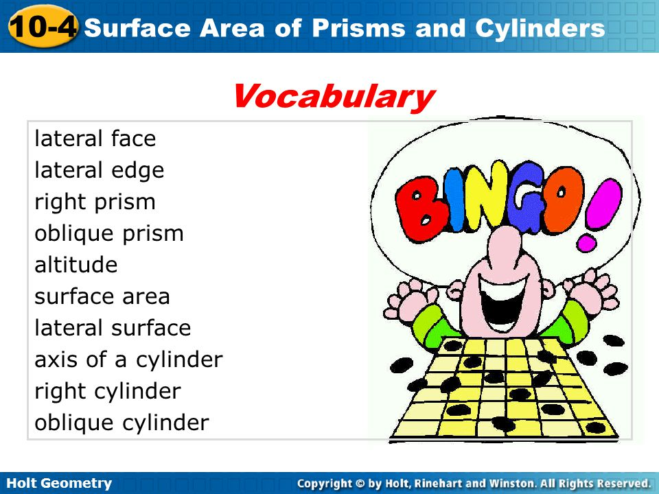 Vocabulary lateral face lateral edge right prism oblique prism