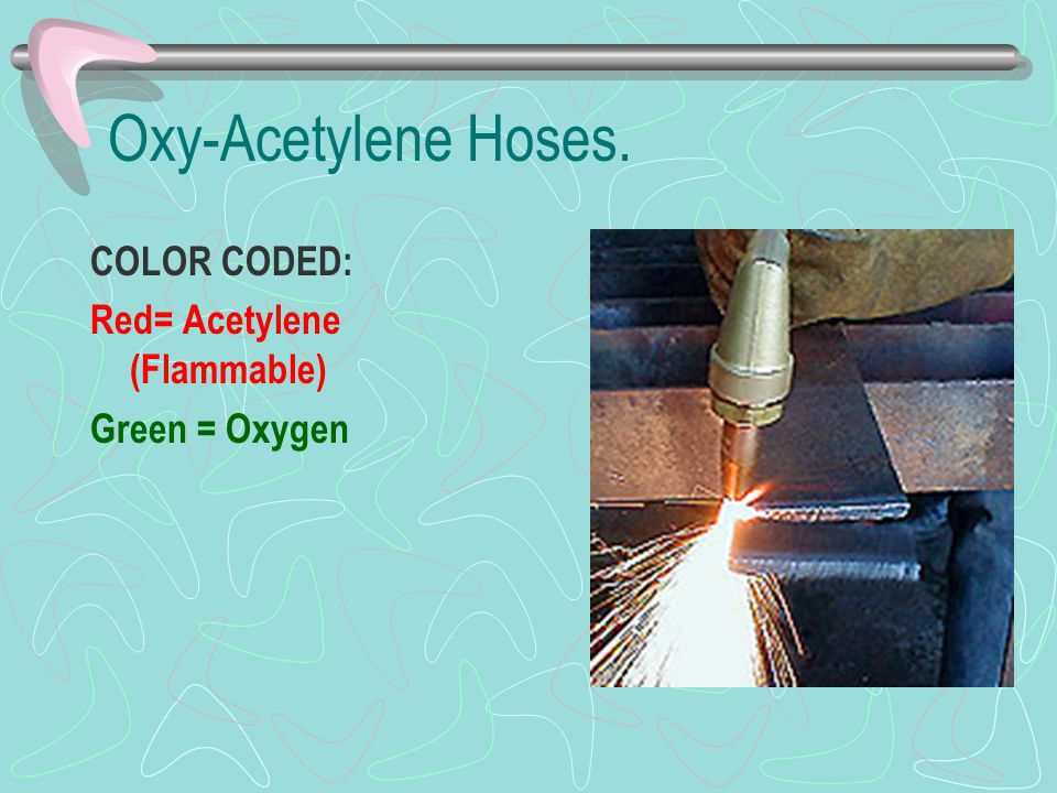 Oxy-Acetylene Hoses. COLOR CODED: Red= Acetylene (Flammable)