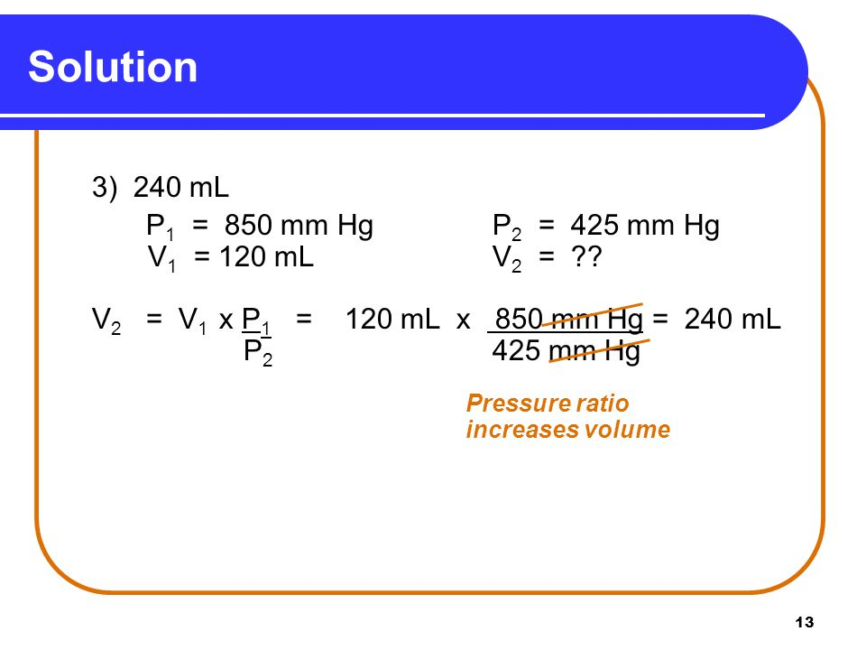 Solution P1 = 850 mm Hg P2 = 425 mm Hg V1 = 120 mL V2 =