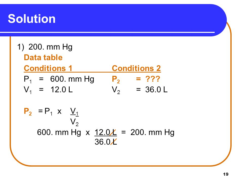 Solution 1) 200. mm Hg Data table Conditions 1 Conditions 2