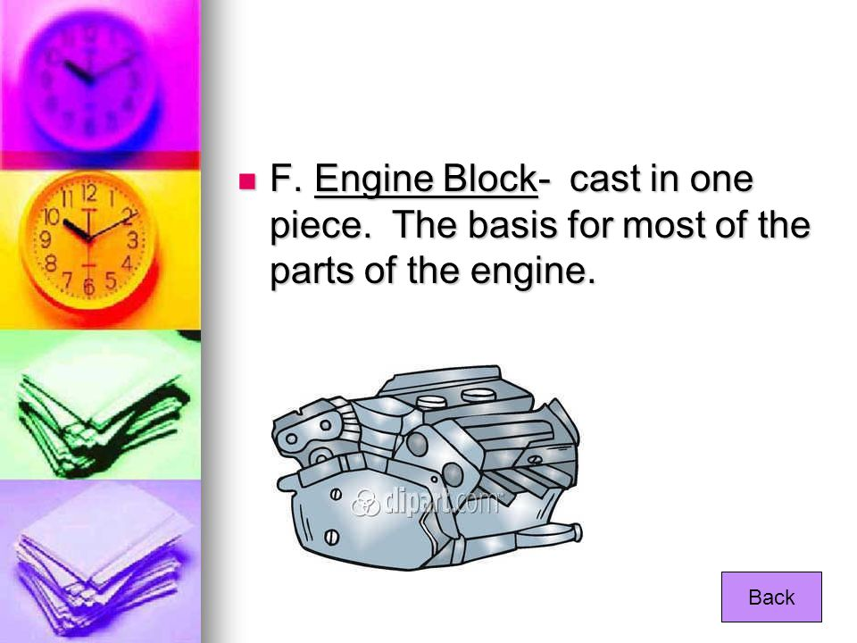 F. Engine Block- cast in one piece