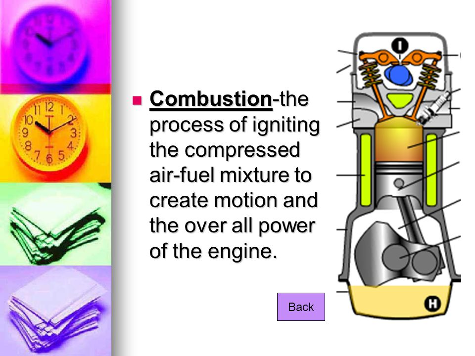 Combustion-the process of igniting the compressed air-fuel mixture to create motion and the over all power of the engine.