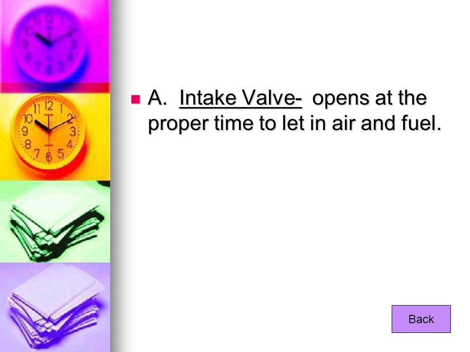 A. Intake Valve- opens at the proper time to let in air and fuel.