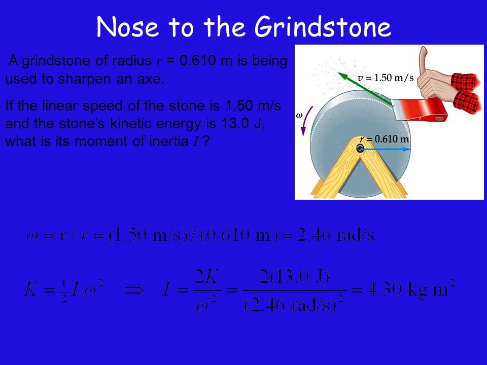 Nose to the Grindstone A grindstone of radius r = 0.610 m is being used to sharpen an axe.