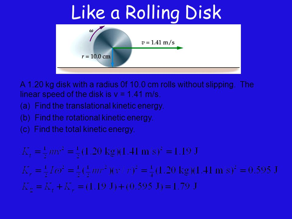 Like a Rolling Disk A 1.20 kg disk with a radius 0f 10.0 cm rolls without slipping. The linear speed of the disk is v = 1.41 m/s.