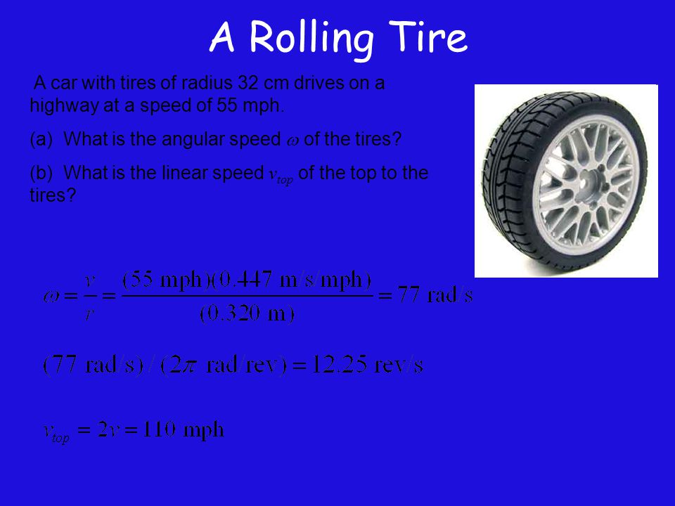 A Rolling Tire A car with tires of radius 32 cm drives on a highway at a speed of 55 mph. (a) What is the angular speed w of the tires