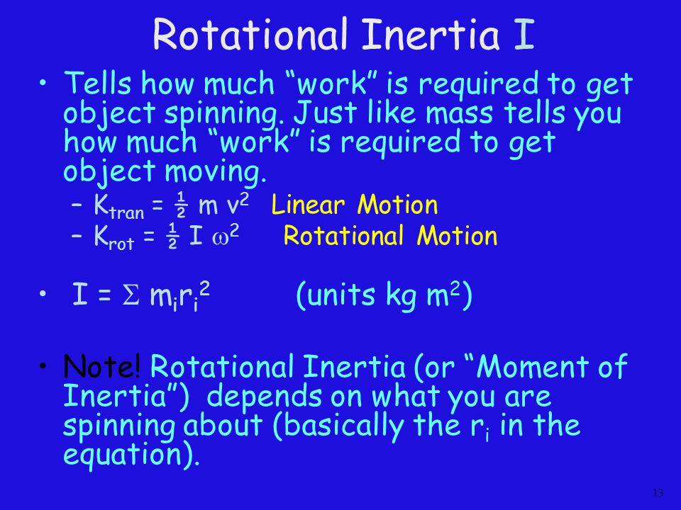 Rotational Inertia I