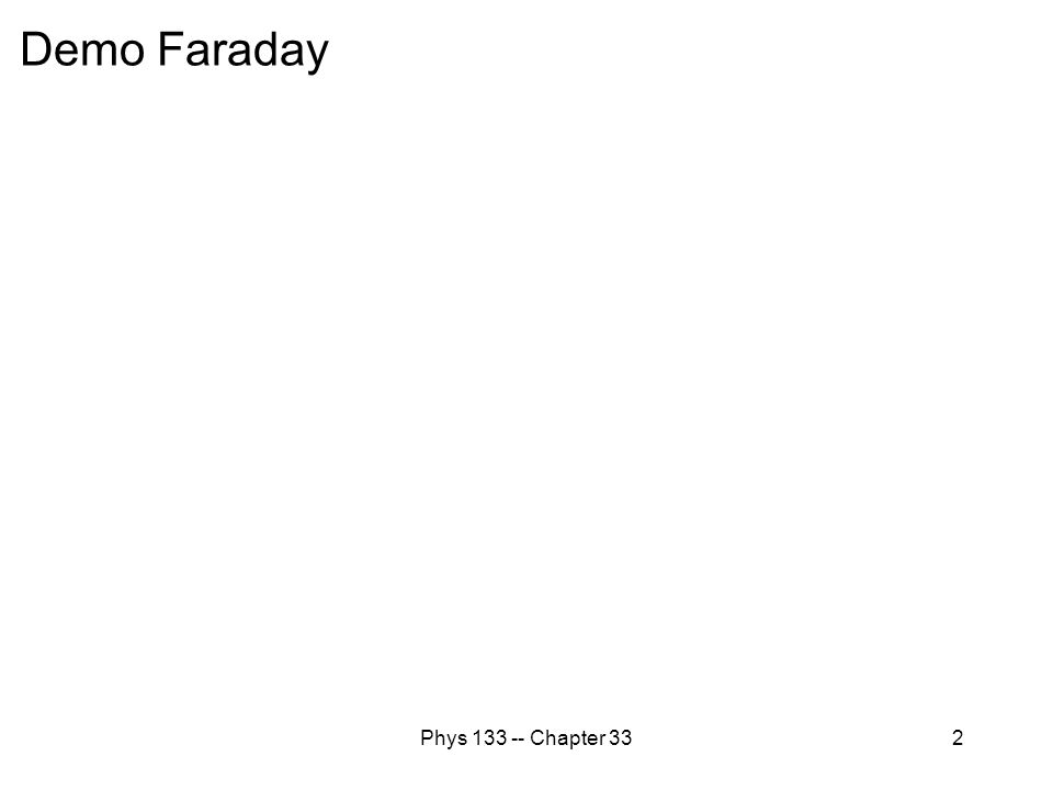 Demo Faraday Phys 133 -- Chapter 33
