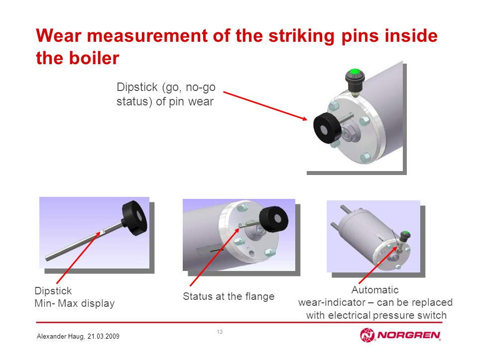 Wear measurement of the striking pins inside the boiler