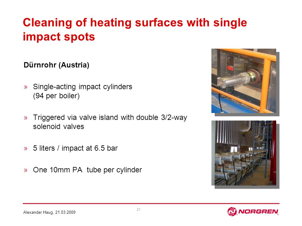 Cleaning of heating surfaces with single impact spots