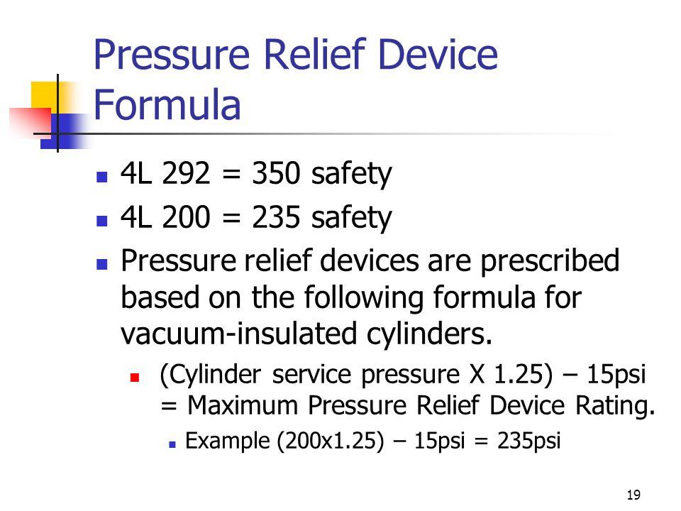 Pressure Relief Device Formula