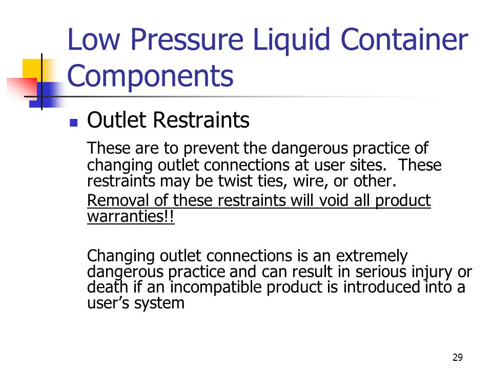Low Pressure Liquid Container Components