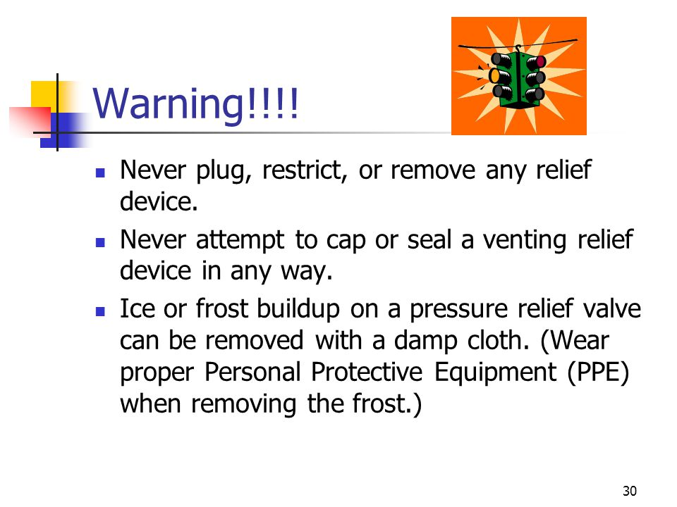 Warning!!!! Never plug, restrict, or remove any relief device.
