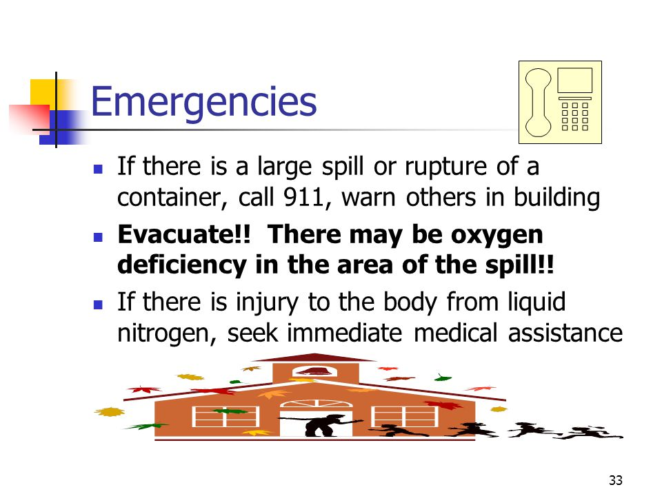 Emergencies If there is a large spill or rupture of a container, call 911, warn others in building.