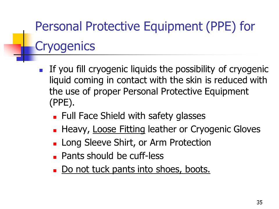 Personal Protective Equipment (PPE) for Cryogenics