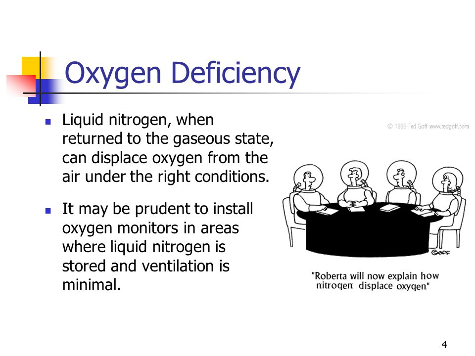 Oxygen Deficiency Liquid nitrogen, when returned to the gaseous state, can displace oxygen from the air under the right conditions.