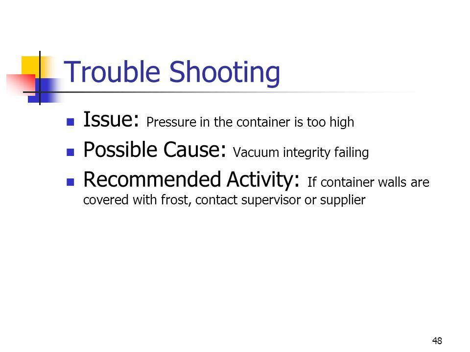Trouble Shooting Issue: Pressure in the container is too high