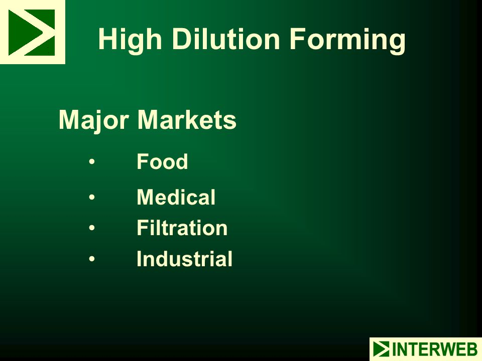 High Dilution Forming Major Markets Food Medical Filtration Industrial