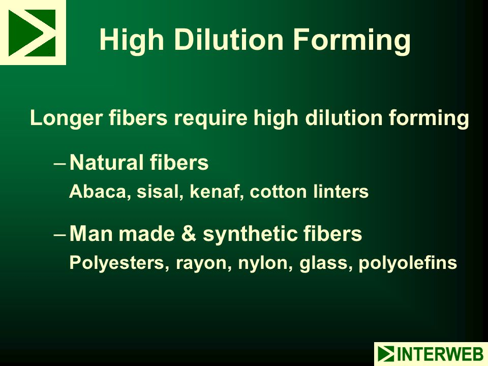 High Dilution Forming Longer fibers require high dilution forming