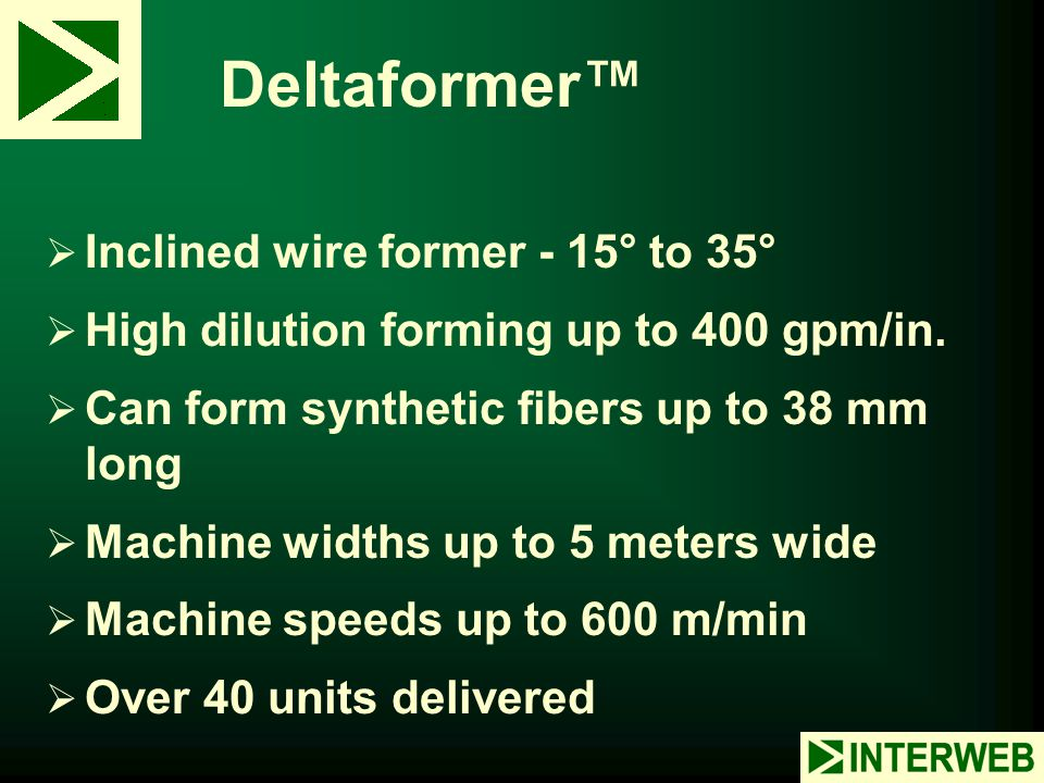 Deltaformer™ Inclined wire former - 15° to 35°