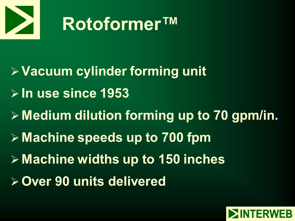 Rotoformer™ Vacuum cylinder forming unit In use since 1953