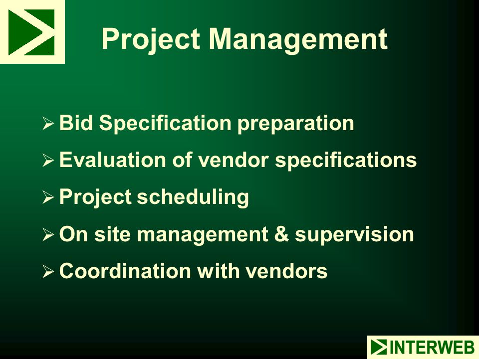 Project Management Bid Specification preparation